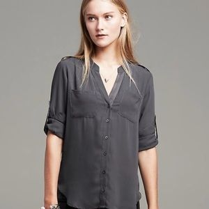 BR Heritage collection black silk blouse - XS
