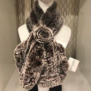 Fur scarf. Real Rex rabbit fur neck warmer.