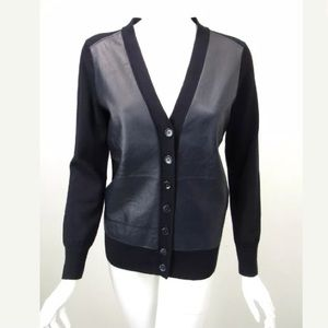 J. Crew Limited Edition 100% Wool Leather Cardigan