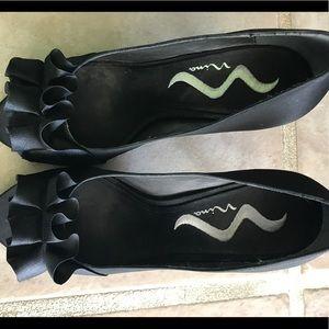 Nina Satin Black Dress Shoes