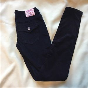 True Religion Julie black skinny cords corduroys