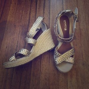 Sperry Gold Braided Wedge Sandals Size 8 EUC
