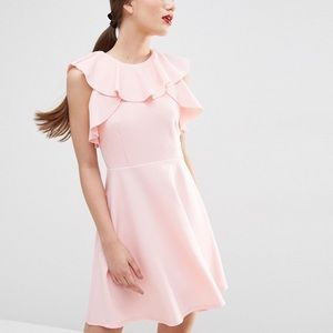 Asos ruffle neck skater dress in pink