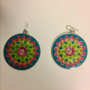 Printed-floral Statement Earrings