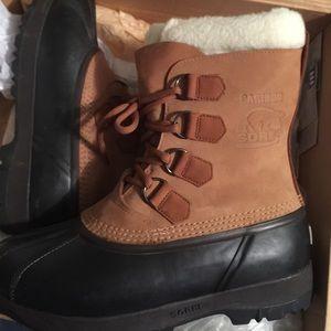 Sorel Caribou Snow Boots in Buff Color