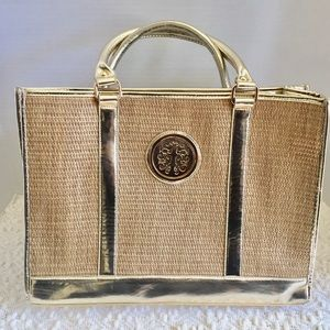 Handbags - Weaved Tote with gold accents