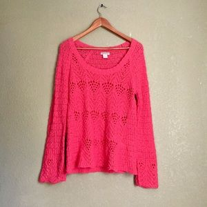 Lucky brand hot pink sweater large
