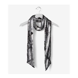 Sequin scarf - matte black and silver - NWT