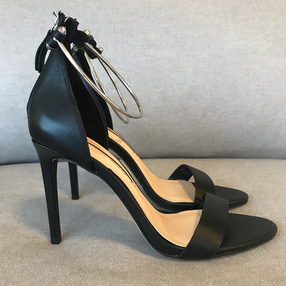 c41bcf2d2227 Leather High Heel Sandal with Metal Ankle Strap. NWT. Zara