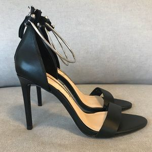 Leather High Heel Sandal with Metal Ankle Strap