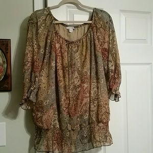 Dress barn top patchwork pasily 1x