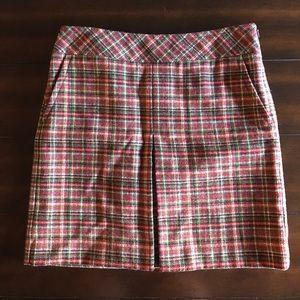 Loft Petites Wool Plaid Pleated Pockets Mini Skirt