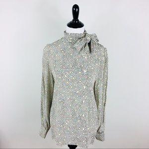 Vintage 100% Silk Polka Dot Blouse Long Sleeve 8