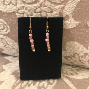 Gold and Pink/Purple Beaded Earrings