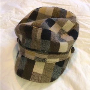 Plaid flannel newsboy cap