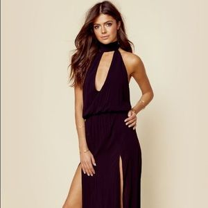 Blue life black maxi halter dress