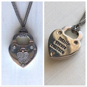 Juicy Couture Silver Stone Heart Key Lock Necklace
