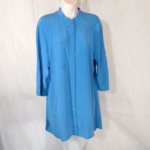 SOFT SURROUNDINGS Shirt Top SILK Women Size 8 Blue