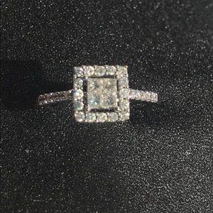 14KT White Gold Halo Diamond Ring .50 ct