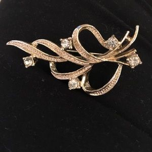 Gerry's signed rhinestone ribbon brooch. Two in