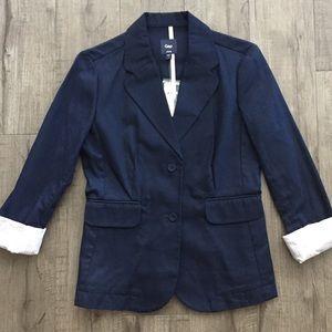 Gap NWT 3/4 Sleeve Navy Blazer w/ Striped Cuffs
