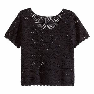 Black Pattern Knit Short Crop Top