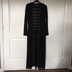 Black floor length cardigan