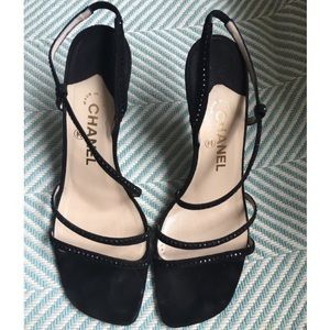 CHANEL Black Suede Evening Sandals