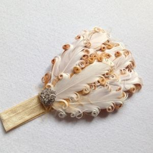 Other - Victorian Feather Diamond Accent Baby Head Band