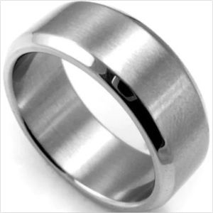 Silver Stainless Steel Men's Wedding Ring Band