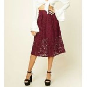 Lace Red Midi Skirt