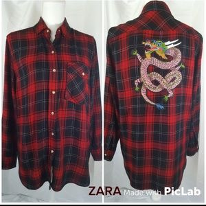 ZARA Basic Collection Plaid Shirt Red/Blk Sz S