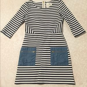 Nautical striped Athropologie shift dress