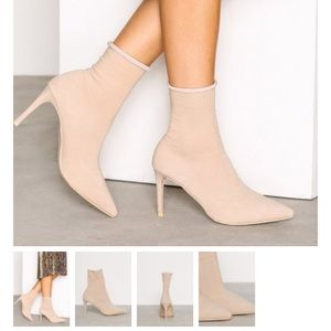 Nude sock bootie heels