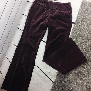 "{EXPRESS} Purple Velvet Wide Leg ""Editor"" Trousers"