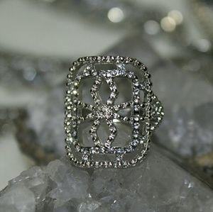 Square Open Design Sparkly Silver Ring