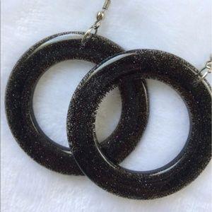 ✨NEW✨ 80s Style Black Glitter Hoop Earrings