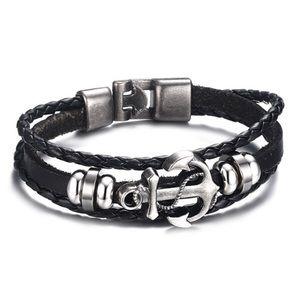 Punk style anchor woven faux leather men bracelet