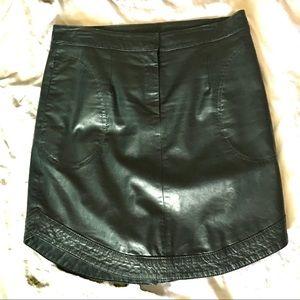 Green Leather midi skirt.