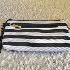 Handbags - Black &White stripe purse