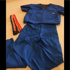Mens medical suits , worn once plus pick up belts