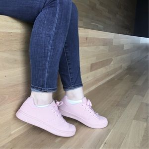 Blush Pink Lace-Up Sneakers