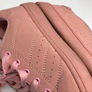 Truffle Collection Shoes - Blush Pink Lace-Up Sneakers