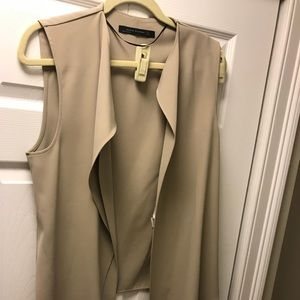 Zara Beige Draped Vest Medium