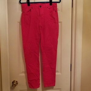 LC Lauren Conrad Hot pink distressed ankle jeans