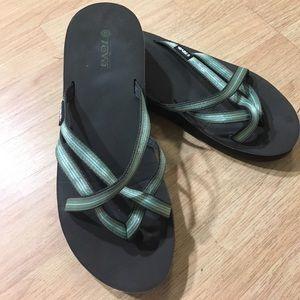 Green wedge Teva flip flops