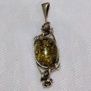 Simulated Green Amber Pendant