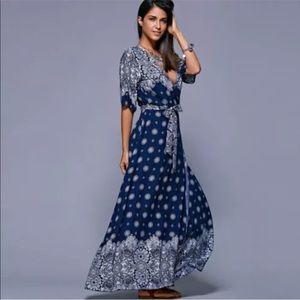 Preview! Athena Blue & White Print Wrap Dress
