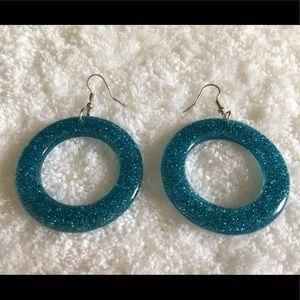 ✨NEW✨ 80s Style Blue Glitter Hoop Earrings