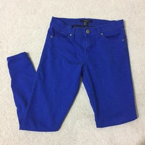 Royal Blue Skinny Ankle Zip Jeans